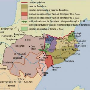 Els comtats de Barcelona i d'Urgell conquereixen Lleida i el baix Segre. Mapa de Catalunya durant el segle XII. Font Enciclopedia