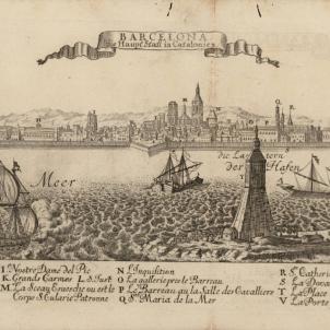 Carles d'Hasbsburg nomena Barcelona capital de les Espanyes. Gravat de Barcelona (1714). Font Cartoteca de Catalunya