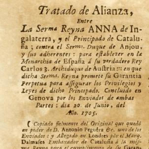 Els Paisos Baixos confirmen el compliment del pacte anglo-català. Primera plana del Tractat de Gènova. Font Memorial 1714