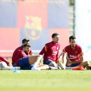 Entrenamiento Piqué Lenget Alba Messi Barça / FC Barcelona
