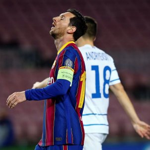 Leo Messi trist Champions Barca EFE