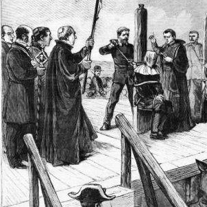 Execució a garrot vil, en un gravat publicat el 1893 a Le Progrés Illustré. 'Garrote y prensa'