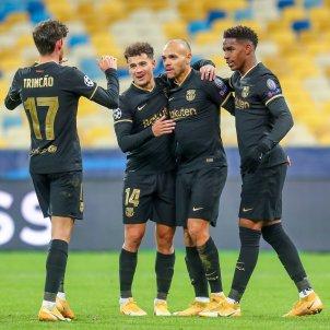 Barca jugadors celebren gol Braithwaite Coutinho Europa Press