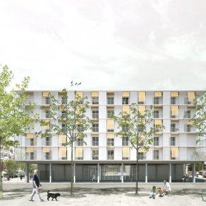 Imatge virtual de l'edifici de 85 habitatges amb protecció oficial al sector Pisa, Cornellà