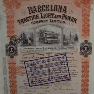 Catalunya, pais pioner de la jornada laboral de 8 hores. Títol acció de La Canadenca. 1918