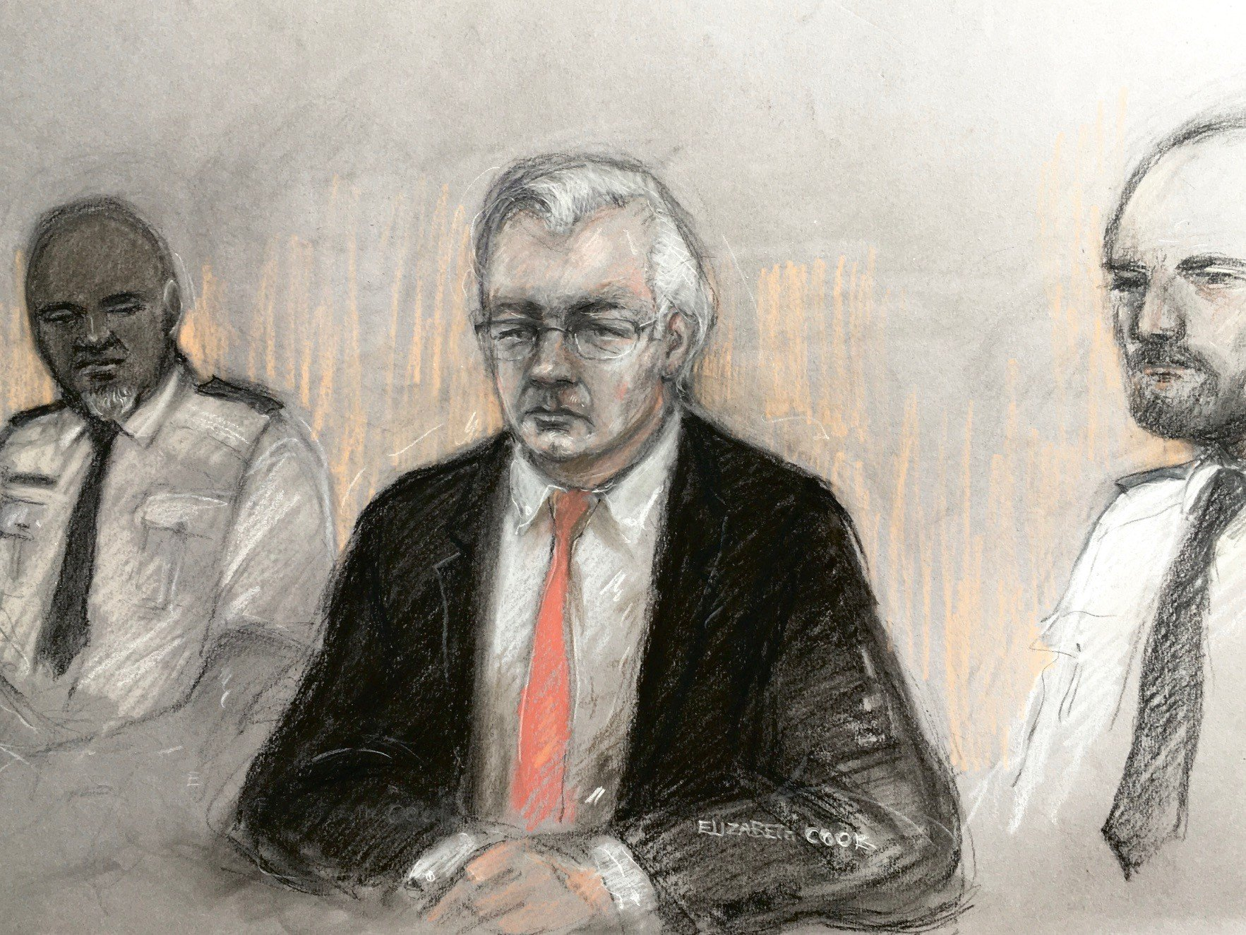dibujo juicio julian assange - europa press