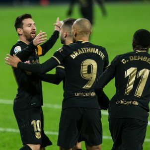 Messi celebracio gol Dembele Braithwaite Barca Europa Press