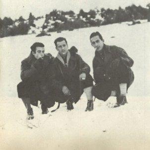Enrique Martínez José Luis Facerias i Celedonio García als Pirineus en una foto del gener de 1948 Departament de justicia