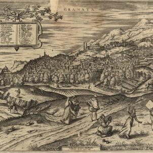 Les armes catalanes de Ferran el Catolic entren a Granada. Gravat de Granada (segle XVI). Font Cartoteca de Catalunya