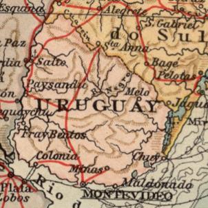 El Arroyo Catalan d'Uruguai s'incorpora als llibres d'història. Mapa d'Uruguai (1880). Font Cartoteca de Catalunya
