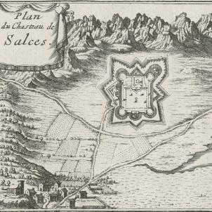 L'Exercit de Catalunya expulsa els francesos del Eosselló. Mapa francès del castell de Salses (1692). Font Cartoteca de Catalunya