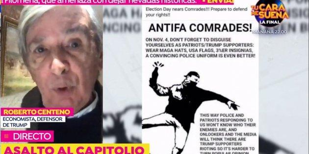 """Roberto Centeno, el asesor de Vox, sobre el asalto al Capitolio: """"Han sido los antifascistas"""""""