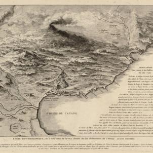 Un terratremol devasta Catània, la ciutat més catalana de Sicilia. Gravat de Catània (segle XVIII). Font Cartoteca de Catalunya