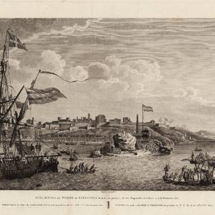 Mor Marià Rius, promotor del port modern de Tarragona. Gravat del port modern de Tarragona (1802). Font Cartoteca de Catalunya