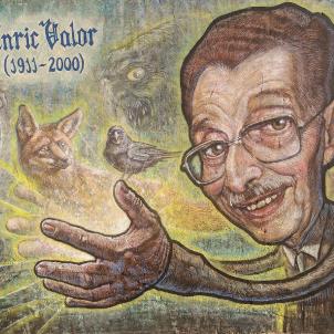 Mor Enric Valor, patriarca de les lletres valencianes. Representació d'Enric Valor, obra de Toni Espinar. Font Espai public de la Batà. Muro (Mallorca)