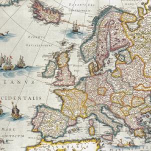 El president Pau Claris proclama la Primera República catalana. Mapa polític d'Europa (1650). Font Biblioteca Nacional de España