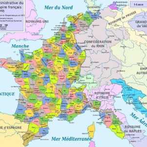Mor Carles IV, el Borbó que li va vendre la corona a Napoleó. Mapa del Primer Imperi francès. Font Wikipedia France