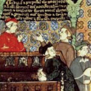 Entra en funcionament la Taula de Canvi, el primer banc public de la història. Representació de la Llotja. Font Enciclopèdia Britànica