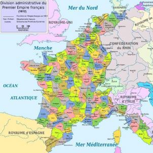 Napoleó incorpora Catalunya a l'Imperi francès. Mapa modern del Primer Imperi francès. Font Wikimedia Commons