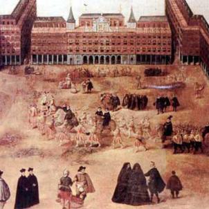 Felip III legalitza les curses de bous. 27 01 1612. Representació d'una cursa de bous a Madrid (segle XVII). Font Biblioteca Virtual Miguel de Cervantes