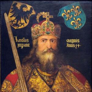 Mor Carlemany, fundador dels comtats catalans. Representació renaixentista de Carlemany, obra d'Albert Durer. Font Museu Nacional d'Alemanya