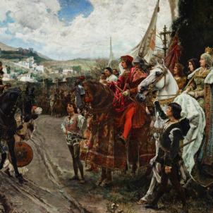 Representació moderna del lliurament de Granada, obra de Francisc Pradilla (1882). Font Palau del Senat d'Espanya