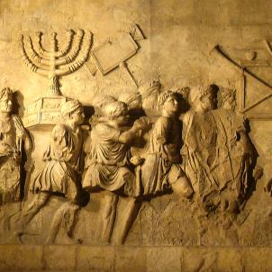 L'arc de Titus a Roma que mostra la destrucció del temple de Jerusalem