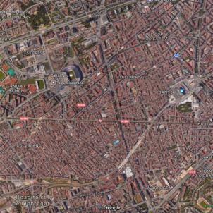 Imatge aèria de Sants-Montjuïc / Google Maps