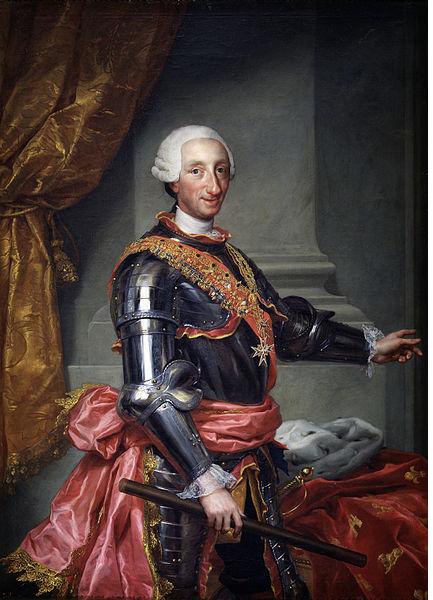 Representació de Carles III (1765), obra d'Anton Raphael Mengs. Font Museu del Prado