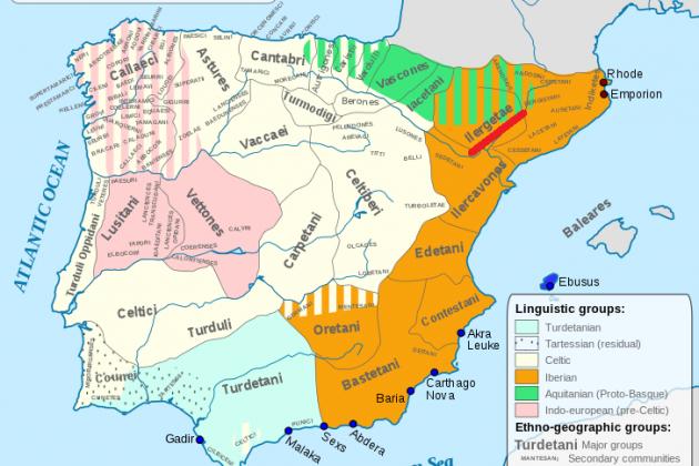 Mapa dels pobles pre romans. Situació de la nació ilergeta. Font Universitat de Lisboa