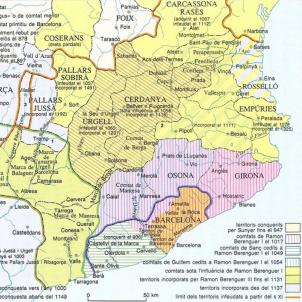 Mapa dels comtats catalans (segles IX a XII). Font Enciclopedia