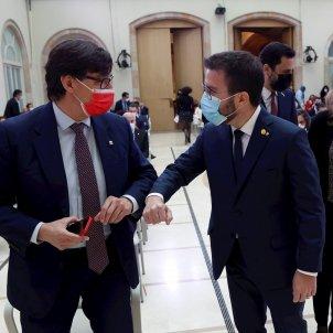 Pere Aragonès y Salvador Illa sesión constitución parlament 2021 pool Efe