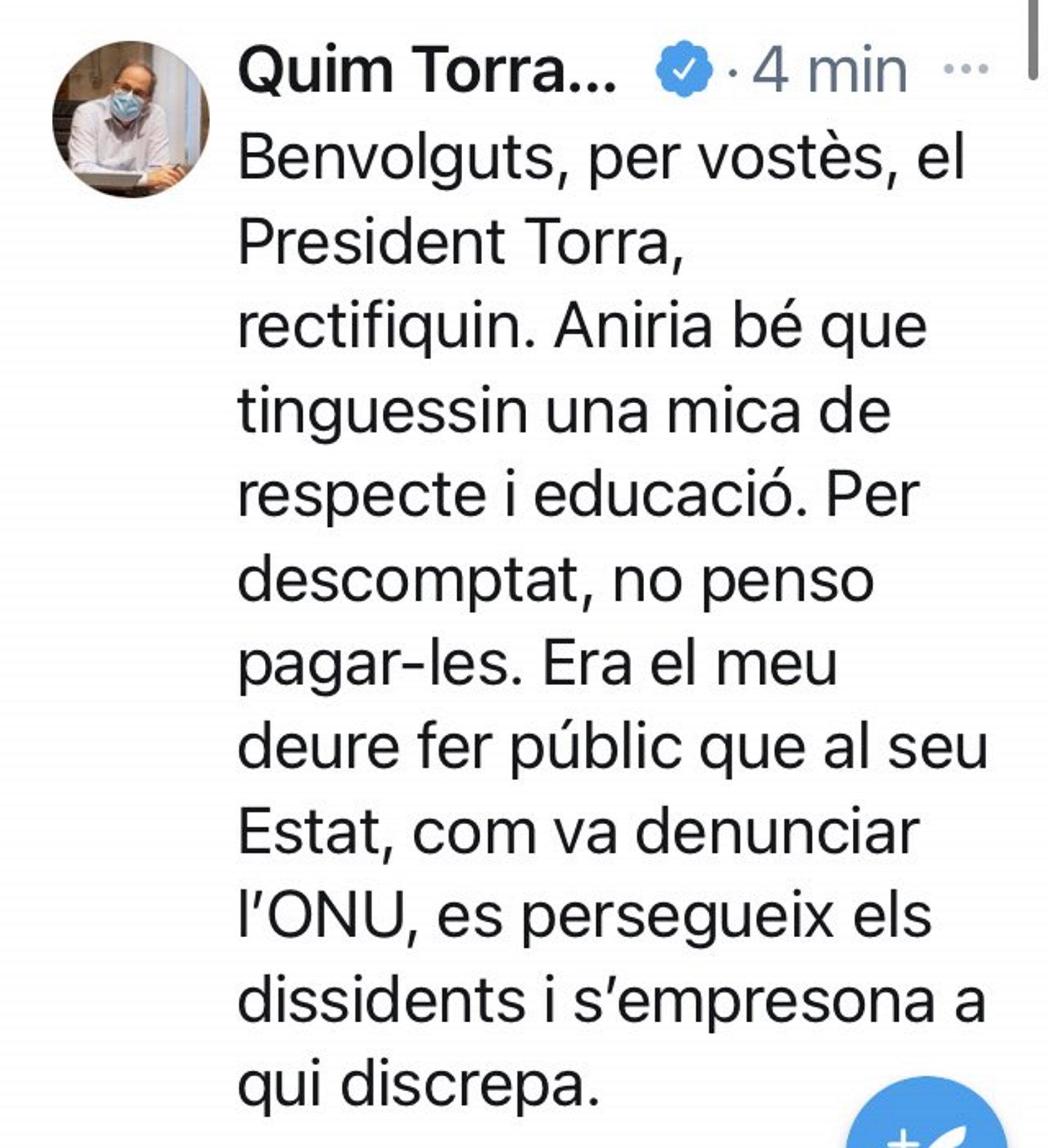 RESPOSTA TORRA TUIT