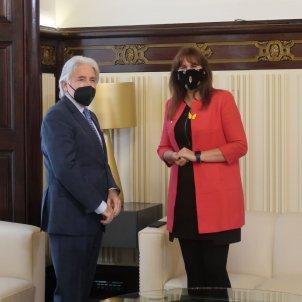 Josep Sánchez-Llibre, Foment del Treball, y Laura Borràs, presidenta del Parlament / Parlament