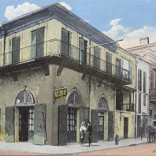 Un incendi devasta la colonia catalana de Nova Orleans. Representació de l'Old Absinthe House (principis delk segle XX). Font Wikimedia Commons