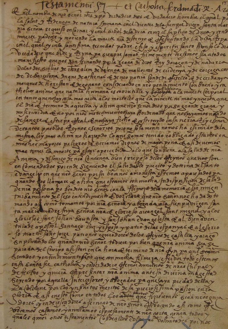 Testament de Ferran el Catòlic (1516). Font Arxiu de la Corona d'Aragó