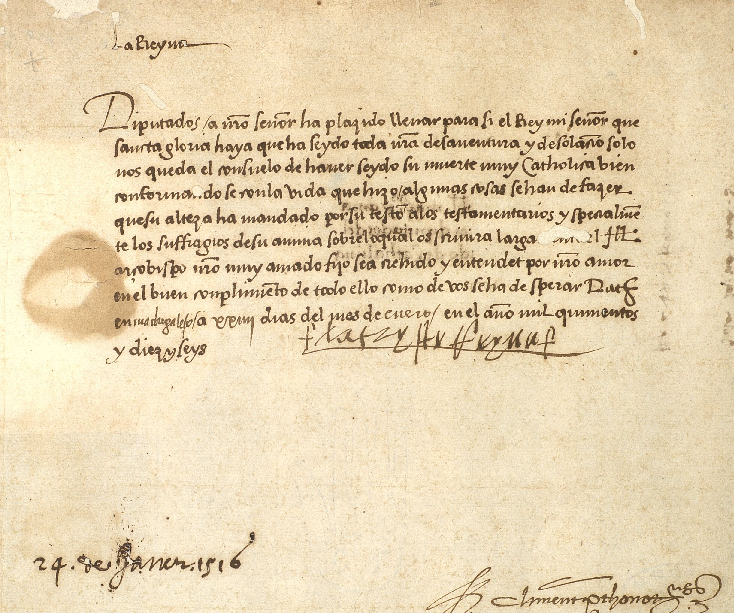 Nomenament d'Alfons com a regent (1516). Font Arxiu de la Corona d'Aragó