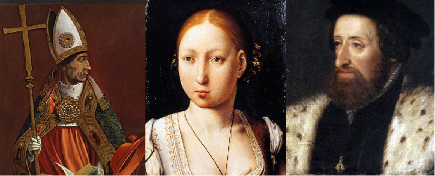 El cardenal Cisneros, Joana de Trastàmara i Ferran d'Habsburg. Font Museo del Prado (Madrid) i Kunsthistorisches Museum (Viena)