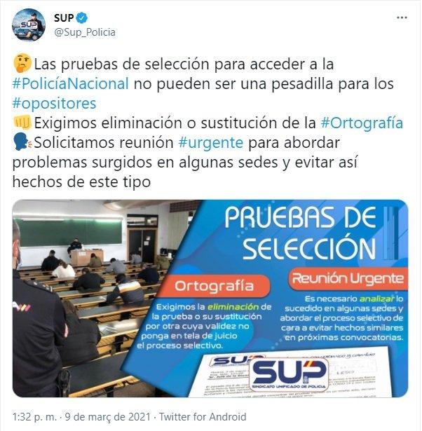 TUIT sindicato policia nacional  examen ortografia