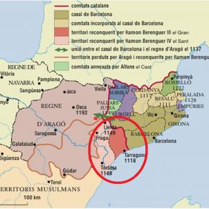 Test 122. La conquesta de la Catalunya nova. Mapa de la Catalunya nova. Font Enciclopèdia