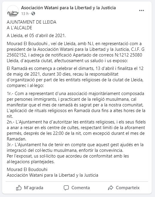 captura facebook ramadan lleida