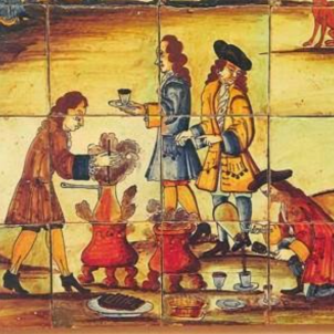Detall del mosaic La Xocolatada (principis del segle XVIII). Font Museu de la Ceràmica. Barcelona
