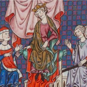 Jaume II conquereix Alacant als castellans. Representació de Jaume II i els seus consellers. Font Bibliothèque Nationale de France (1)