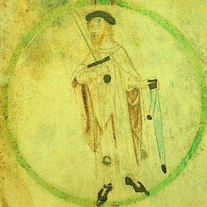 Mor Guifré II, el primer comte català que va rebre el titol per herència. Representació coetània de Guifré II. Font Enciclopèdia