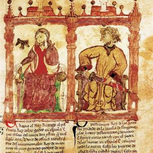 Els àrabs inicien la conquesta de la península ibèrica. Representació medieval de Roderic i Musa. Font Biblioteca Nacional de Espanya