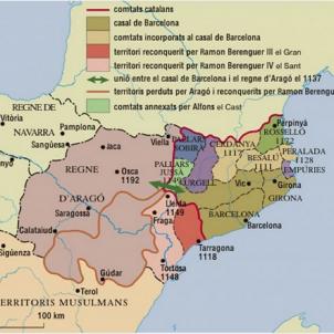 Cau Siurana, el darrer reducte àrab a Catalunya. Mapa modern dels dominis comtals barcelonins. Font Enciclopèdia