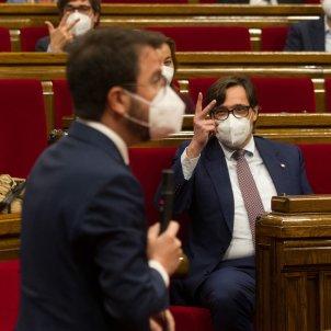 Pere Aragonès Salvador Illa Parlament abril 2021 / Pool Efe
