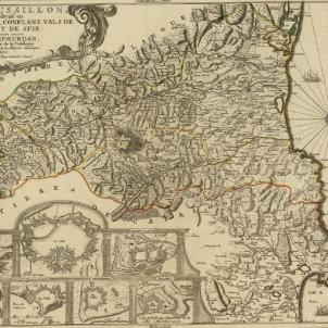 Lluís XIV. L'ús del català repugna i es contrari a l'honor de la nació francesa. Mapa francès de la provincia del Rosselló (1700). Font Cartoteca de Catalunya