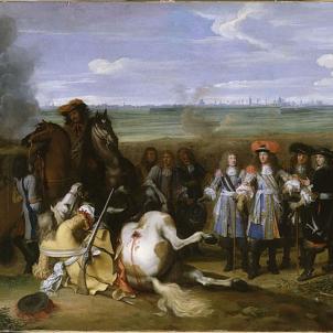 Es signa la Pau d'Aquisgrà, la segona part del Tractat dels Pirineus. Representació de Lluís XIV a la Guerra de la Devolució. Font Museu de Versalles