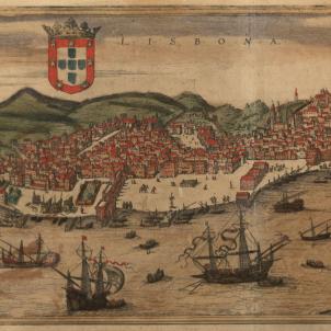 La Guerra de Successió hispànica es trasllada a la península ibèrica. Gravat de Lisboa (finals del segle XVI). Font Cartoteca de Catalunya